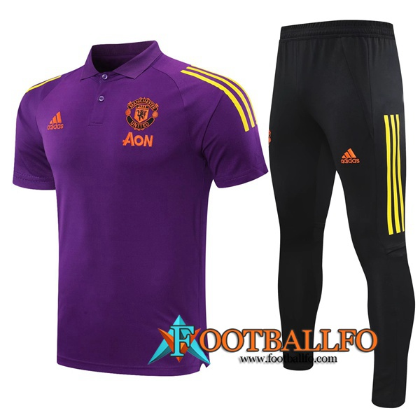 Polo Futbol Manchester United + Pantalones Violet 2020/2021